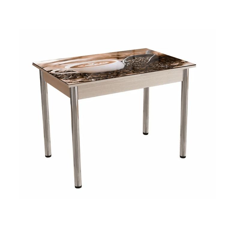 """Virtuvės stalas stiklinis su piešiniu """"Kava""""   Būsto Pasaulis"""